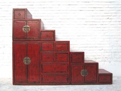 China große Treppen Kommode rotbraun viele Schubladen Messingbeschläge beidseitig aufstellbar von Luxury Park