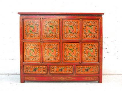 Antik Asien Tibet Sideboard Kommode rotbraun 100 Jahre Vollholz
