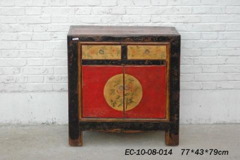 Chinesischer Schrank aus Vollholz mit konventioneller Farbgebung