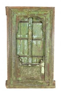 Indien großes Fenster geschnitzter Laden zum Einbau Metallbeschlag Gujarat 1910