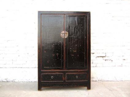 Asia Schrank Kredenz halbhoch schwarz lackiert vintage Holz Kolonialstil