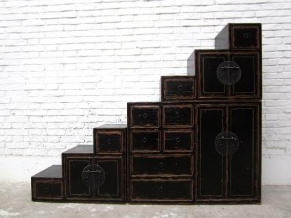 Asien Treppen Kommode Schrank antikschwarz Kolonial Stil Pinie