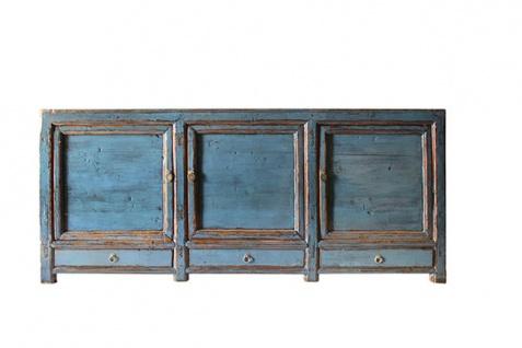 Vollholzsideboard aus China in kräftigem Blau im Used-Look - Vorschau