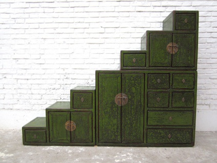 Asia große Stufen Kommode Schubladen antikgrüne Bemalung
