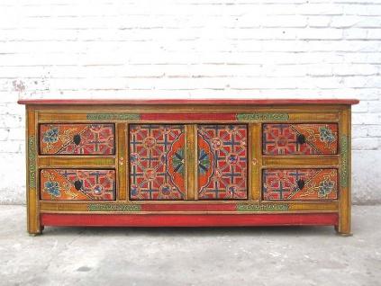 Asien TV Kommode antik Lowboard Kommode bunter Folklore Stil Pinienholz