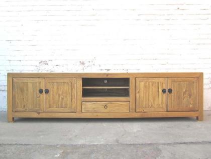 Asien sehr große TV Kommode Lowboard für Flatscreen antik vintage helles Holz Landhausstil