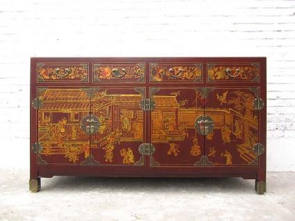 China Sideboard Kommode rotbraun Lederfinish Klassik Stil Holz