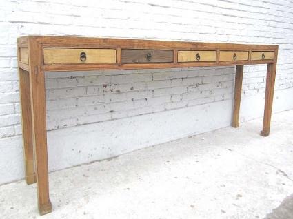 Chinesischer Vollholztisch mit abgesetzten Schubladen