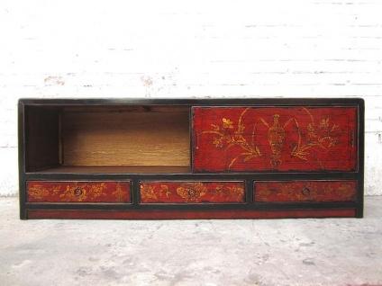 China Lowboard rotbraun goldene Bemalung Antikfinish Vintage Stil Pinie