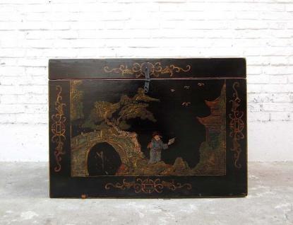 Katzenhygiene im antiken China Stil feinste goldene Zeichnungen auf schwarzem Lack von Luxury Park