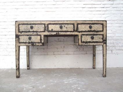 Asia kleiner Schreibtisch Desk Schubladen Antikweiß Vintage Style Vollholz