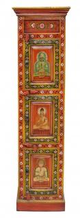 Indien hoher schlanker Schrank Säule rot-gold bemalte Kassettenfront Buddhamotive