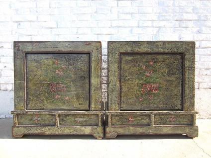 Mongolei zwei rustikale Nachttische Kommode Paar heavy vintage finish bäuerliche Bemalung