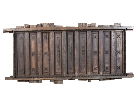 Indien massive Balken Decke Panell dunkelbraunes Holz antik Rajasthan um 1910