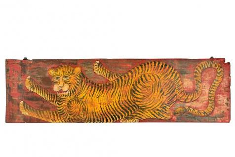 Indien Malerei breites Wandgemälde Motiv Tiger Kunstwerk Einzelstück