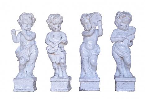 Vier kleine Musikanten Putten Skulpturen Gusseisen antikweiß