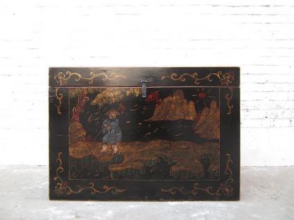 Katzentoilette im China Antik Stil goldene filigrane Bemalung auf schwarzem Lack von Luxury Park
