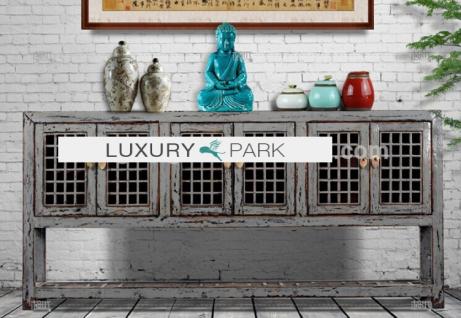 Chinesisches Sideboard aus Echtholz in elegantem Grau.