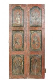 Indien kunstvoll bemalte Tür traditionelle Dekore Rajasthan ca 1950