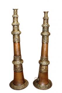 Tibet 1930 Zwei antike rituelle Mönchstrompeten Trompete Bläser - Vorschau