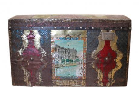 Bulgarien 1930 interessante Truhe Box in ungewöhnlich bunter Optik shabby chic - Vorschau