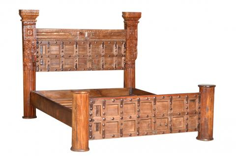 Indien Massivholz Bett 180cm Breite Kassettenfront Rajasthan