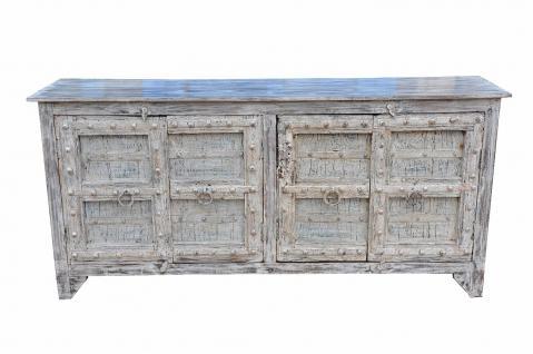 Langes Sideboard indien zart bemaltes langes sideboard kommode florale motive auf