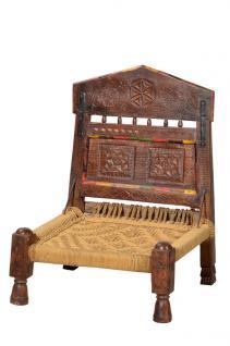Indien 1900 klassischer Stuhl Sitz geschnitztes dunkles Hartholz gedrechselte Beine - Vorschau