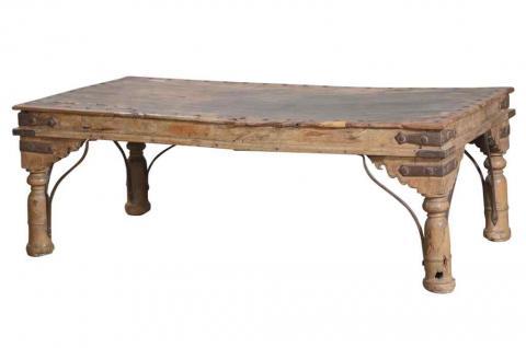 India 1850 niedriger Tisch coffeetable filigrane Füße antike Oberfläche - Vorschau