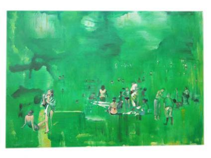 Impressionistische Badeszene Gleiche Größe wie Original Öl auf Leinwand bekannter Künstler