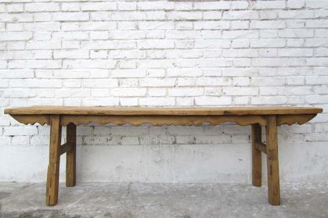China Shanxi um 1860 antike Sitzbank helles Ulmenholz geschnitzt - Vorschau