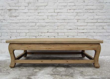 China grosser flacher Tisch Podest helles Ulmenholz naturbelassen - Vorschau