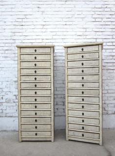 China hohe Schubladenkommode Schrank dreizehn Schübe Pinienholz weiß - Vorschau