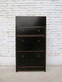China Schuhschrank dunkles Pinienholz 3 breite Fächer und seitliche Schübe - Vorschau