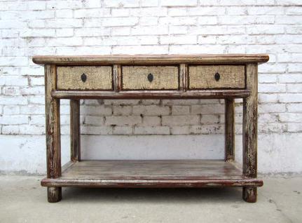 China kleine Anrichte Garderobentisch Schreibtisch Pinienholz altweiß - Vorschau
