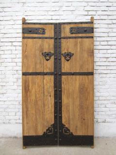 China Shanxi um 1860 schwere Tür zweiflügelig Massivholz Metallbeschläge