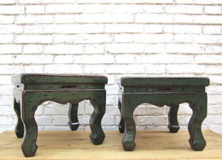 antikes China kleine Hocker in traditioneller Gestaltung antikgrünes Pinienholz - Vorschau