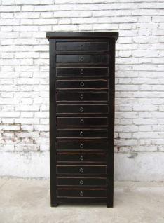China Büroschrank 13 Auszüge Schubladenturm schwarzes Pinienholz - Vorschau