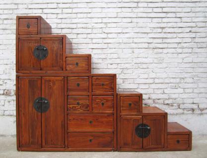 China Breite Treppen Kommode Rotbraun Viele Schubladen Beidseitig