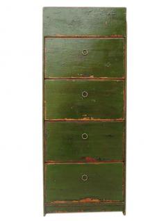 China Schuhschrank Pinie grün 4 breite Fächer und seitliche Schübe