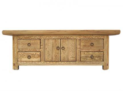 China antik Gansu um 1810 Lowboard flache Anrichte ideal für Flachbildschirm Pappelholz - Vorschau