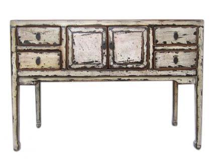 China shabby chic kleiner Schreibtisch weiß mit vier Schubladen Pinie - Vorschau