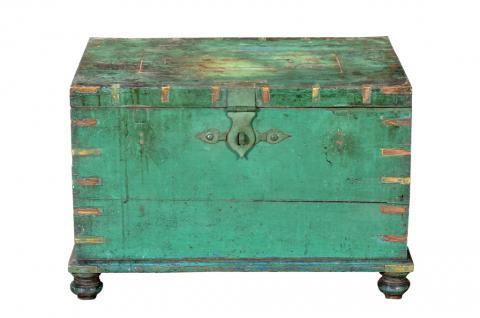 Koloniale Indien Truhe 1920 Box aus grün bemalter altem Teakholz - Vorschau