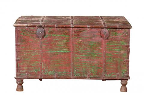 India 1960 Hochzeitstruhe Truhe Metallschlößer Box Kassettenfront - Vorschau