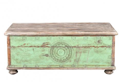 South India um 1930 große verzierte Aussteuer Truhe Box türkisblaue Front auch als Sitzbank