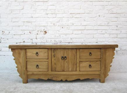 CHINA Shanxi 1910 great carving vintage credence buffet natural pine I D SD.D.43