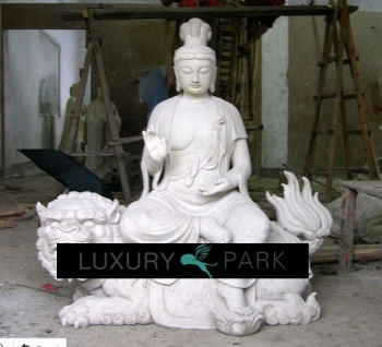 Asien riesige Skulptur Buddha sitzend auf Drachen weißer Marmor Buddhismus