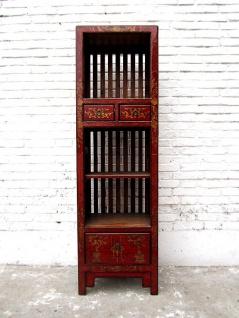Asien Highboard Kommode rotbraun Antiklook Vintage Pinie