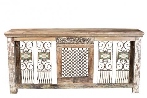 India ultrabreite Theke Sideboard Konsole Holz und Metall atemberaubende Dekore