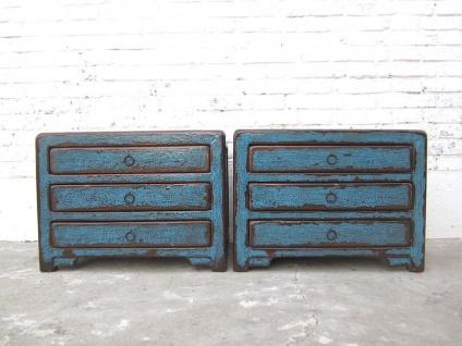 China 2 kleine Schubladen Kommoden Lowboard Nachtschrank shabby chic azurblau Pinienholz